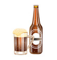 glass and bottle of dark beer vector image