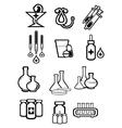 Black outline sketch icons of medicine or drugs vector image