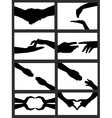 hands silhouette collage vector image vector image
