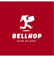 Bellhop Asian deliveryman runs speed delivery vector image
