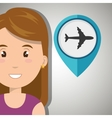 woman pin travel location vector image