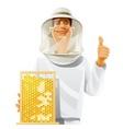 beekeeper with bee hive vector image