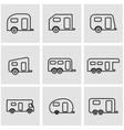 line trailer icon set vector image