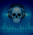 Skull in headphones LED disco background vector image