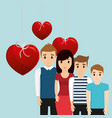 lovely family poster together heart decoration vector image