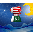 A floating balloon with the flag of Pakistan vector image vector image