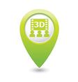 3d cinema icon green pointer vector image