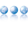 Three globe world views vector image