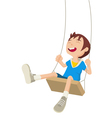 Boy Playing On A Swing vector image