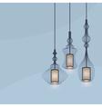 chandelier lights icons set on blue background vector image