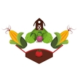 farm emblem with vegetables icon vector image
