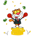 Happy Tiger alated With Victory vector image