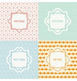 Set of mono line geometric seamless cube pattern vector image