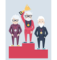 Three elderly people on a winners podium vector image
