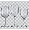 Transparent empty glass goblets for wine vector image