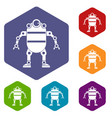 robot icons set hexagon vector image