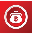 Bitcoin purse icon on red vector image