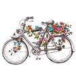 Bike with flowers design element for wedding vector image