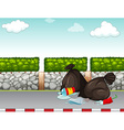 Garbage bags on the pavement vector image