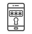 mobile security line icon security and smartphone vector image
