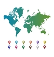 World map with colorful pointer marks vector image