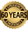 60 years experience golden label with ribbon vector image vector image