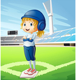 A female athlete with a blue uniform vector image