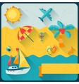 Travel and tourism background in flat design style vector image vector image