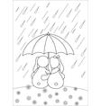 rabbits under umbrella vector image