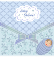Blue baby shower with boy vector image