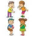 Children get sick cartoon character vector image