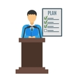 Conference speaker isolated vector image
