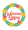 floral wreath decorative welcome spring vector image