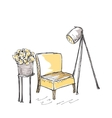 Intrior with chair and lamp vector image