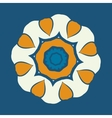 Mandala ornament over blue background Decorative vector image