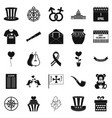menology icons set simple style vector image