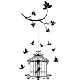 Tree silhouette with birds flying and bird flying vector image