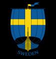 warship of the vikings - drakkar and sweden flag vector image