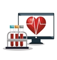 digital healthcare cardiology and test tube design vector image