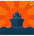 Ship on sunrise or sunset background EPS10 vector image