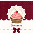 Sweet cupcake invitation background vector image