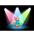 A cat singing with spotlights vector image
