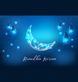Glowing ornate crescent with hanging lantern vector image