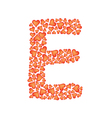 letter e made of valentines vector image