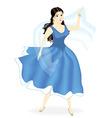 Young beautiful girl dancing in blue dress vector image