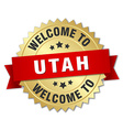 Utah 3d gold badge with red ribbon vector image