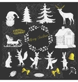 Christmas in forest silhouettes vector image