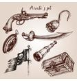 Hand drawn pirate set of design elements vector image