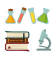 science chemistry book or beakers and biology vector image
