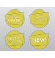 Special offer stickers Yellow flat design template vector image